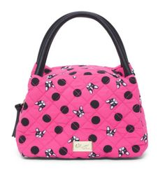 Betsey Johnson Puppy Lunch Pink Black Cotton  Faux Leather Bottom Tote 45%  off retail 4f27c95699