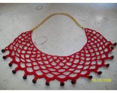 Crochet colar vermelho. Inspiração.