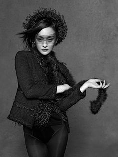"One of Karl Langerfeld's photos for the ""little black jacket"" campaign. This is Zhou Xunthe"