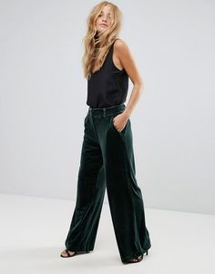 Vila Wide Leg Velvet Pants