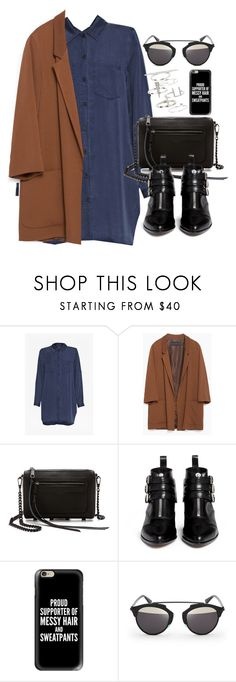 """""""Outfit for autumn with a coat"""" by ferned ❤ liked on Polyvore featuring French Connection, Zara, Rebecca Minkoff, Tabitha Simmons, Casetify, Christian Dior and Topshop"""