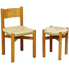 Set of Charlotte Perriand Chair and Stool for Meribel, circa 1950   $5,513.06