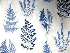 Sanderson Angel Fern cotton curtain fabric- indigo blue - 2 metres | eBay