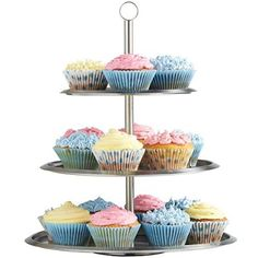 VonShef Stainless Steel 3 Tier Cake Stand To Display Cakes / Cupcakes / Biscuits / Muffins - Party Wedding - Free 2 Year Warranty 3 Tier Cake Stand, Tiered Stand, Cupcake Party, Cupcake Cakes, Cake Stands For Sale, Small Desserts, Cream Tea, Free Wedding, Party Wedding