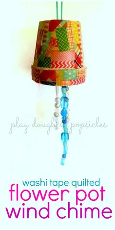 Flower Pot Wind Chime - Mother's Day Gift - Washi Tape - Preschool Activity - Handmade Gift From Kids -