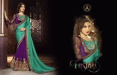 DESIGNER FUSION OF COLOR  , HEAVY  BLOUSE AND WORK SAREE