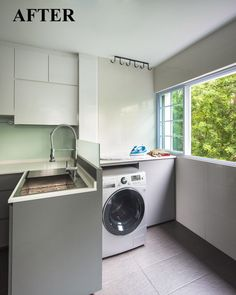 maybe the chute area, we can do something like this? washing machine below and above it is the ironing area?