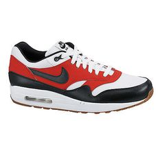 Nike Air Max 1 Essential Mens 537383-122 White Black Orange Running Shoes S 10.5