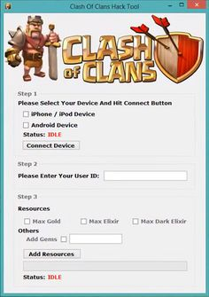 Today, We proudly present our app that can hack Clash of clans. If you are a fan of Clash of clans, then you can use this tool to Complete the Game Faster by Unlocking or Setting all the Resources to Unlimited. There are thousands of players using it This picture was taken from http://centralhacks.com