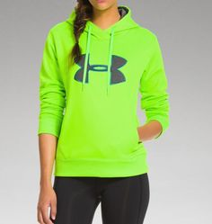 Women's UA Storm Armour® Fleece Big Logo Hoodie - Color Hyper Green, Size Medium