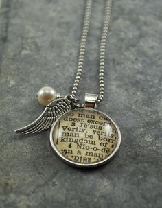 Vintage Bible Verse Pendant Necklace. Love these!