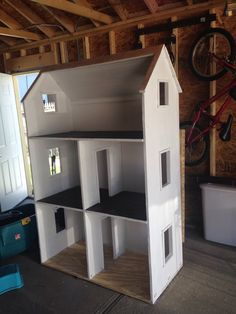 """Doll house for 18"""" dolls. Plans from Ana White!  Here's the link :   http://ana-white.com/2014/03/plans/three-story-american-girl-or-18-dollhouse"""
