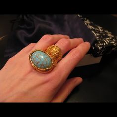 YSL turquoise ring Sold out and being sold much higher on other sites. Like new condition. 100% authentic guaranteed. Classic staple Saint Laurent Jewelry Rings
