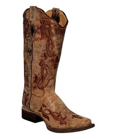 This Crater Cognac Embossed Fleur-de-Lis Leather Boot - Women is perfect! #zulilyfinds