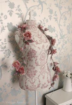 Rose Garland & Vintage Style Mannequin