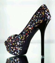 Black Sequin heel