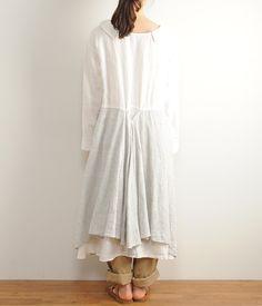ヴィンテージリネンワンピース(A・ホワイト) conges payes ADIEU TRISTESSE |ナチュラル服や雑貨のファッション通販サイト ナチュラン