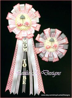 Pink Umbrellaphant Baby Shower Corsage Girl Elephant Mommy Daddy to Be Pin- Umbrella Elephant Mom Dad Clay Favor Badge Checkered Capia Mum - pinned by pin4etsy.com
