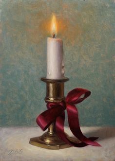 """Daily Paintworks - """"An Eternal Light"""" - Original Fine Art for Sale - © Debra Becks Cooper Hyper Realistic Paintings, Amazing Paintings, Still Life Art, Christmas Art, Christmas Canvas, Home Fragrances, Soy Wax Candles, Fine Art Gallery, Art For Kids"""