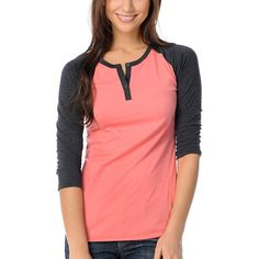 Zine Girls Peach & Charcoal Baseball Tee Shirt