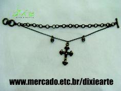 Pulseira Crucifixo e Caveiras  www.mercado.etc.br/dixiearte