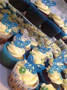 Cupcakes personalised to your wedding colours with a selection of designs and toppers