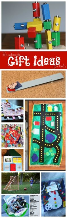 Lots of Handmade Gift Ideas for Kids:  DIY Snap Blocks, Soccer Goals, Taggie Blankets, Felt Snowman, and many more!