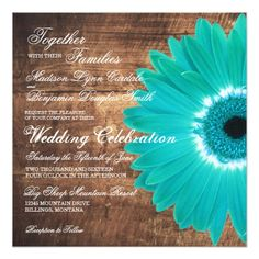 Teal Daisy Rustic Wood Wedding Invitations Square Invitation Templates. Great for a rustic country wedding. 40% OFF when you order 100+ Invites. #wedding