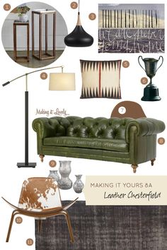 Masculine but with style.   Making it Yours 8A: Leather Chesterfield #makingitlovely