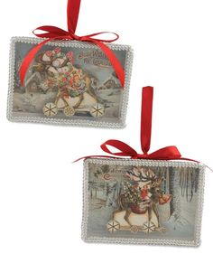 Scrapbook Reindeer Shadow Box Ornaments from The Holiday Barn