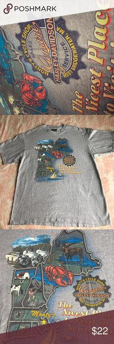 Harley Davidson Riders ⚡️ 1997 WHOA New England 👀 Harley Davidson Tee . Great logos on front & rear . Clean / soft & ready to wear . Large / Hanes Beefy Tee .  The nicest Place to Visit / New England . 😇💎⚡️ bad to the bone 🍖 Harley-Davidson Tops Tees - Short Sleeve