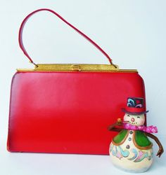 Rockabilly Red Vintage Purse 50s 60s Kelly Bag by normajeanscloset, $18.99