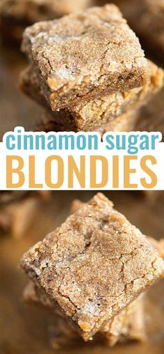 These blondies are thick, chewy, and made in just one bowl! The crackly cinnamon and sugar topping is just perfect! #blondies #dessert #easy #recipe Easy Baking Recipes, Sweets Recipes, No Bake Desserts, Easy Desserts, Cookie Recipes, The Best Dessert Recipes, Easy Delicious Desserts, Easy Dessert Bars, Christmas Desserts Easy