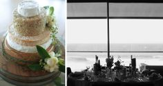 Three tiered cheese cake (left) Merewether Surfhouse reception details (right)
