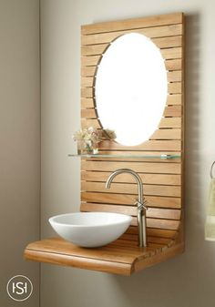 Add another dimension to your modern bathroom remodel with this wall-mount teak vanity. The sleek design of this piece of decor brings an earthy, spa-like feel to your space. Small Bathroom Sinks, Rustic Bathroom Vanities, Bathroom Design Small, Bathroom Interior Design, Vanity Bathroom, Bathrooms, Downstairs Bathroom, Bathroom Ideas, Lavabo Design