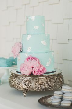 Mint blue wedding #cake with silver foil accents | Photography: Spindle Photography - spindlephotography.com/  Read More: http://www.stylemepretty.com/2014/06/25/summer-wedding-inspiration-with-pewter-accents/