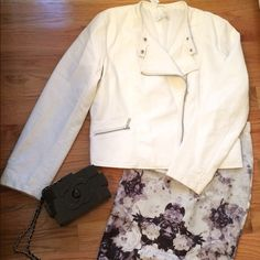 White faux leather jacket This is a white faux leather jacket in good condition new with tags if you have any questions please feel free to ask New York & Company Jackets & Coats