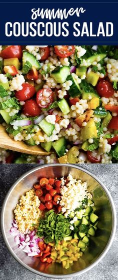 The salad you're going to want to eat all summer long- summer couscous salad! Loaded with tomatoes, bell peppers, cucumber, red onion, feta cheese, mint and Israeli couscous. #sweetpeasandsaffron #salad #summer #couscoussalad