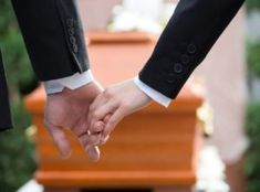 Photo about Religion, death and dolor - couple at funeral holding hands consoling each other in view of the loss. Image of casket, undertaker, couple - 30996601 Funeral Etiquette, Loss Of A Friend, People Holding Hands, Identity Thief, When Someone Dies, Funeral Planning, Funeral Arrangements, Grief Support, End Of Life
