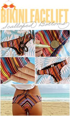 DIY scalloped bikini bottoms.....try with an old pair first....