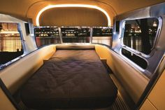 """Off the beaten path a bit, but I really like the look of this sleek and modern """"bedroom"""" in an Airstream Land Yacht!  <3"""