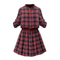 Stand Up Neck Long Sleeve Button Down Tie Waist Plaid Shirt Dress ($40) ❤ liked on Polyvore featuring dresses, beautifulhalo, button up dress, long dresses, long-sleeve maxi dress, shirt dress and button down dress