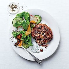 Black Bean Cakes with Ginger-Cilantro Cream | Cooking Light #myplate #vegetables #protein #dairy