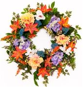 Tropical Sunset Lily and Hydrangea Wreath
