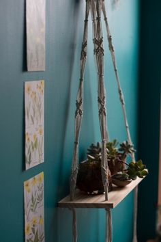 Hanging macrame shelf by coppertoppedshop on Etsy