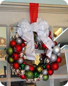 Dollar store Christmas ornaments - make a wreath!