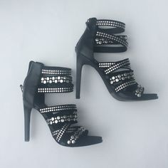 Zara embellished sandals Size 38 1 DAY SALE Black with silver brushed metal detail 4 inch heel Cushion built in for a comfy fit No studs missing Could fit a 7 or 7 1/2 ZARA 38  TRADES Zara Shoes