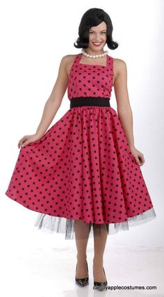 Plus Size Pretty in Polka Dots 50s Costume - 50's Sock Hop Costumes - Candy Apple Costumes $36.99