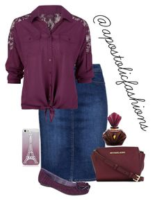 Apostolic Fashions #1482 by apostolicfashions on Polyvore featuring Full Tilt, Dr. Scholl's, MICHAEL Michael Kors, modestlykay and modestlywhit