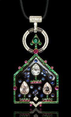 CARTIER Paris.Art Deco 1921.Rare 'Oriental' multi-gem pendant